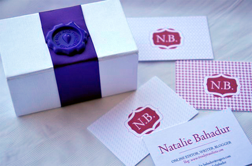 Custom business cards at moo trendy travelista the cards come packaged in a white box elegantly wrapped in a royal purple ribbon the box has a magnetic closure and itll look great on your desk colourmoves